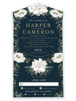 Winter White All-in-One Wedding Invitations