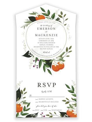 Orange Blossoms All-in-One Wedding Invitations