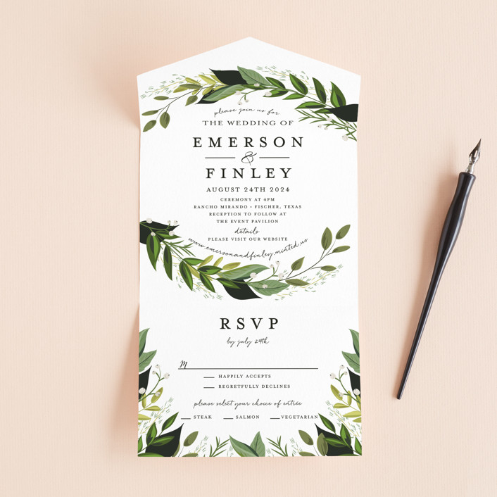 """Vines of Green"" - All-in-one Wedding Invitations in Fern by Susan Moyal."