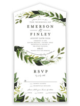 This is a green all in one wedding invitation by Susan Moyal called Vines of Green with standard printing on value cover in all-in-one.