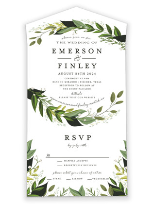 Vines of Green All-in-One Wedding Invitations