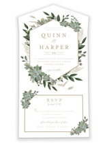 This is a white all in one wedding invitation by Susan Moyal called Succulent Surround with standard printing on value cover in all-in-one.