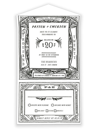 Ink Detailing Frame All-in-One Wedding Invitations