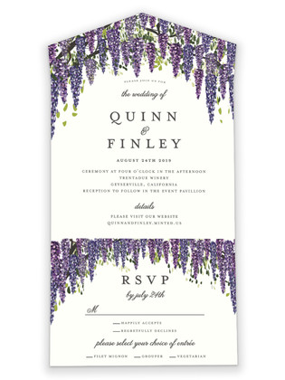 Wisteria Blooms All-in-One Wedding Invitations