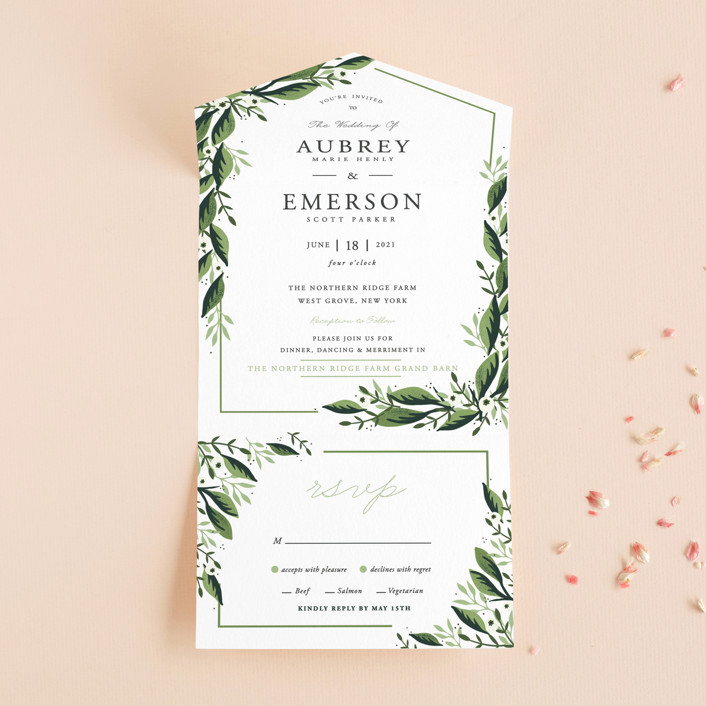 """Paradise"" - Customizable All-in-one Wedding Invitations in Green by Oma N.  Ramkhelawan."