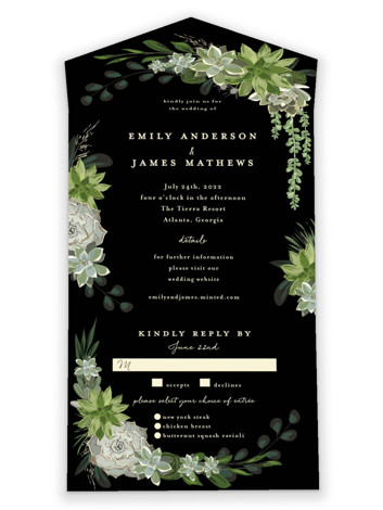 Agave & Greens All-in-One Wedding Invitations