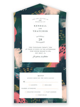 This is a green all in one wedding invitation by iamtanya called Dreaming with standard printing on strathmore in all-in-one.