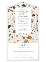 This is a white all in one wedding invitation by Amy Payne called Terrazzo Frame with standard printing on value cover in all-in-one.
