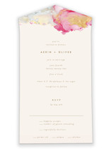 This is a pink all in one wedding invitation by AK Graphics called desert chic with standard printing on strathmore in all-in-one.