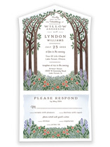This is a green all in one wedding invitation by Paper Sun Studio called Nature's Chapel with standard printing on value cover in all-in-one.