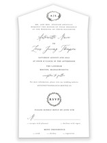 This is a black and white all in one wedding invitation by lulu and isabelle called Antoinette with standard printing on value cover in all-in-one.