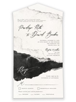 This is a black and white all in one wedding invitation by Pink House Press called Inky with standard printing on strathmore in all-in-one.