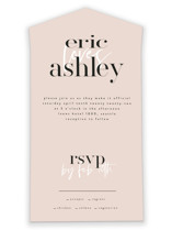 This is a pink all in one wedding invitation by Angela Garrick called Loved with standard printing on value cover in all-in-one.