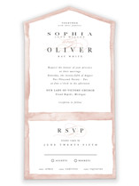 This is a pink all in one wedding invitation by Pixel and Hank called First Love with standard printing on value cover in all-in-one.