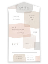 This is a brown all in one wedding invitation by Hooray Creative called Sculpture Garden with standard printing on strathmore in all-in-one.