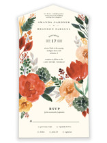 This is a green all in one wedding invitation by Beth Schneider called Flourishing with standard printing on strathmore in all-in-one.