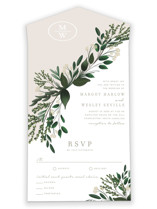 This is a green all in one wedding invitation by Kaydi Bishop called Watermark with standard printing on value cover in all-in-one.