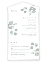 This is a green all in one wedding invitation by Shannon Chen called Silver Dollar Eucalyptus with standard printing on value cover in all-in-one.