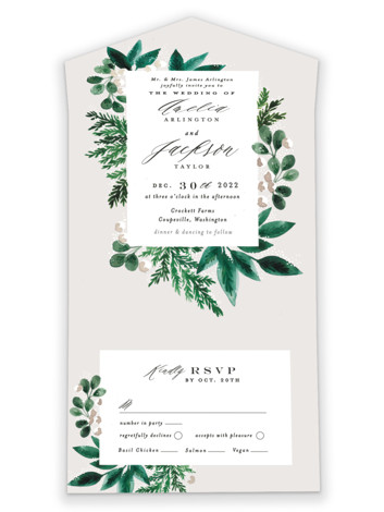Winter Bouquet All-in-One Wedding Invitations