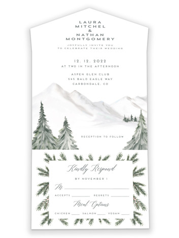 Lovely Winter Land All-in-One Wedding Invitations
