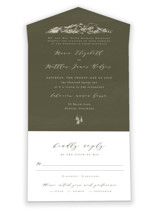 This is a green all in one wedding invitation by Helen Halik called into the mountains with standard printing on value cover in all-in-one.