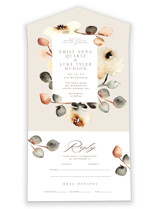 This is a brown all in one wedding invitation by Petra Kern called Bella Mia with standard printing on value cover in all-in-one.