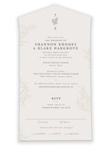 This is a beige all in one wedding invitation by Sarah Brown called Herb Garden with standard printing on value cover in all-in-one.