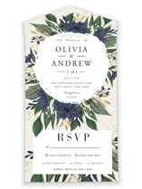 This is a blue all in one wedding invitation by Oma N. Ramkhelawan called Ophelia's Garden with standard printing on value cover in all-in-one.