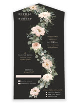 This is a pink all in one wedding invitation by Susan Moyal called Lovely Vine with standard printing on value cover in all-in-one.