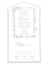 This is a green all in one wedding invitation by Hooray Creative called Dear Greenery with standard printing on value cover in all-in-one.