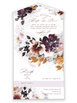 This is a brown all in one wedding invitation by Phrosne Ras called Lush Bouquet with standard printing on value cover in all-in-one.
