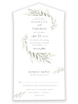 This is a white all in one wedding invitation by Carolyn Nicks called Sweeping with standard printing on value cover in all-in-one.