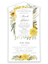 This is a yellow all in one wedding invitation by Susan Moyal called Organic Florals with standard printing on value cover in all-in-one.