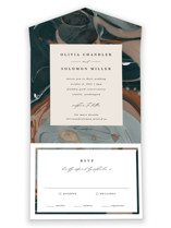 This is a green all in one wedding invitation by Kate Ahn called Love Story with standard printing on value cover in all-in-one.