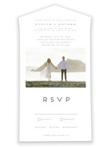 This is a white all in one wedding invitation by Nicole Walsh called Grounded in Love with standard printing on value cover in all-in-one.