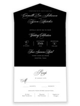 This is a black all in one wedding invitation by Jill Means called our moment with standard printing on value cover in all-in-one.