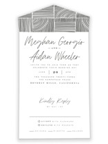 This is a black and white all in one wedding invitation by Leah Bisch called Mod Classic with standard printing on value cover in all-in-one.
