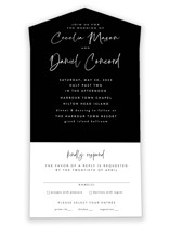 This is a black all in one wedding invitation by Lea Delaveris called In this together with standard printing on value cover in all-in-one.