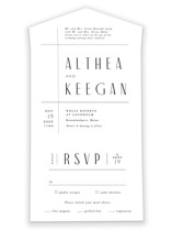 This is a white all in one wedding invitation by Jennifer Wick called Narrative with standard printing on value cover in all-in-one.