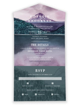 This is a purple all in one wedding invitation by Yuliya Evseeva called High with standard printing on value cover in all-in-one.