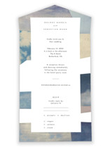 This is a blue all in one wedding invitation by Sumak Studio called sky poetry with standard printing on value cover in all-in-one.