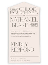 This is a beige all in one wedding invitation by Kelly Schmidt called Landscape with standard printing on value cover in all-in-one.