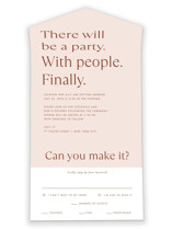 This is a brown all in one wedding invitation by Amy Payne called There Will Be a Party with standard printing on value cover in all-in-one.