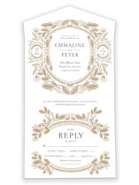 This is a brown all in one wedding invitation by Jen Owens called Charmed with standard printing on value cover in all-in-one.