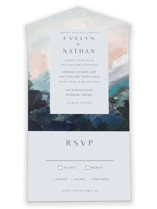 This is a blue all in one wedding invitation by Nicole Walsh called Evelyn with standard printing on value cover in all-in-one.