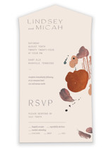 This is a orange all in one wedding invitation by Chelsea Petaja called Painted Sands with standard printing on value cover in all-in-one.