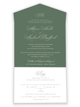 This is a green all in one wedding invitation by Jennifer Postorino called Initial with standard printing on value cover in all-in-one.