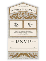 This is a brown all in one wedding invitation by GeekInk Design called Floral mosaic with standard printing on value cover in all-in-one.