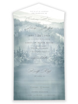 This is a blue all in one wedding invitation by Helen Halik called Over the mountains with standard printing on value cover in all-in-one.