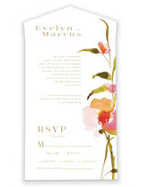 This is a pink all in one wedding invitation by Angela Marzuki called colorwash floral with standard printing on value cover in all-in-one.